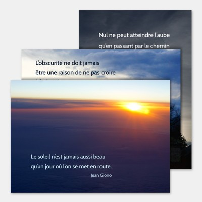 """3 cartes """"Soleil levant"""" + enveloppe"""